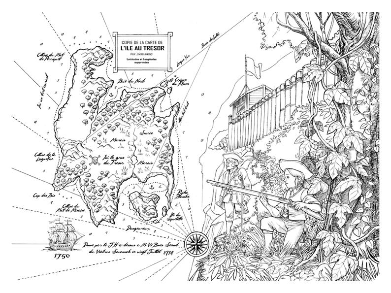 Carte Au Tresor Noir Et Blanc.Carte Ile Au Tresor Martin Maniez Illustrations